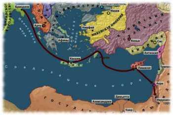 Карта Шестого крестового похода